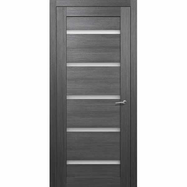 Дверь межкомнатная Квартет экошпон Грей неаполь, остекленное, 80 см.