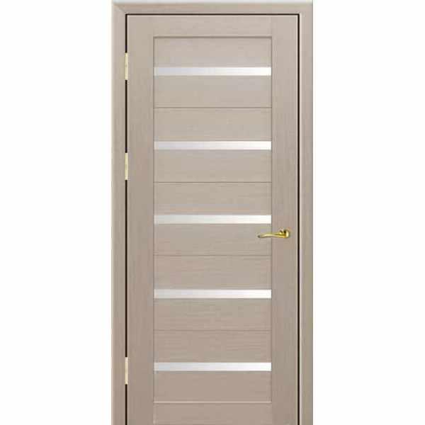 Дверь межкомнатная 7Х экошпон Капучино мелинга, остекленное, 60 см.