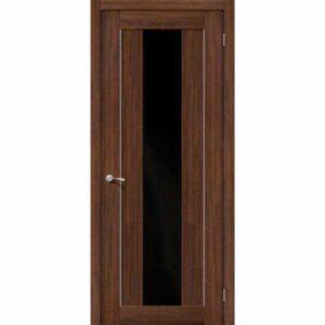 Дверь межкомнатная MG1 alu NOCE Экошпон, остекленное - черное зеркало, 70 см.