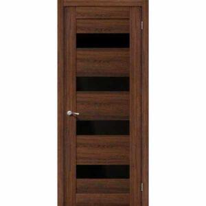 Дверь межкомнатная MG4 NOCE Экошпон, остекленное - черное зеркало, 70 см.