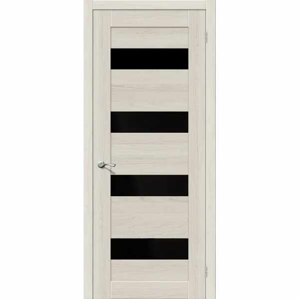 Дверь межкомнатная MG4 LUCE Экошпон, остекленное - черное зеркало, 60 см.