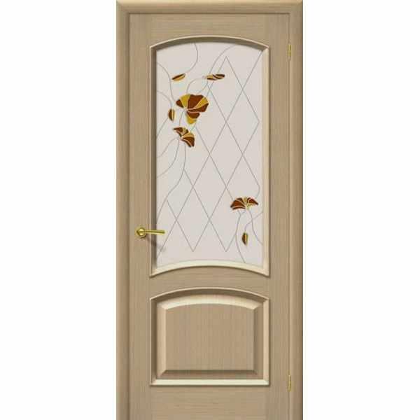 Дверь межкомнатная К-4 Ф-03 шпон дуба, остекленное - маки желтые, 60 см.