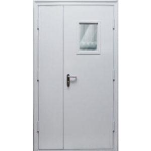 Противопожарная двухстворчатая дверь ДМП-EI-60 1350х2050 мм. со стеклом 200х1400 мм.