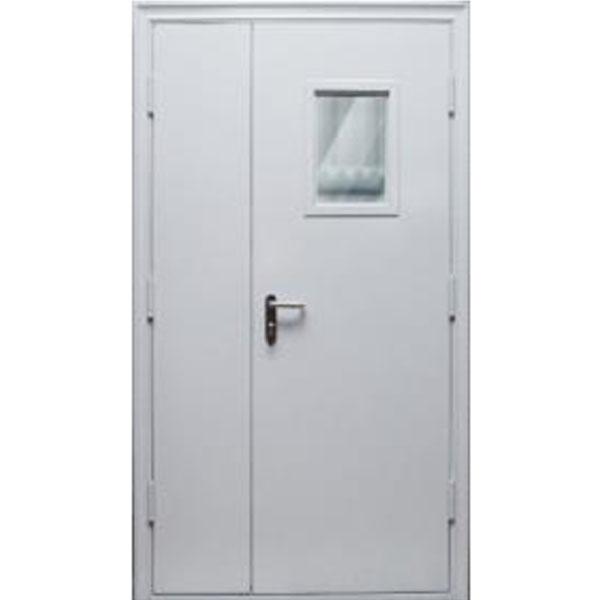 Противопожарная двухстворчатая дверь ДМП-EI-60 1250х2050 мм. со стеклом 300х400 мм., 400х200 мм., 200х700 мм.