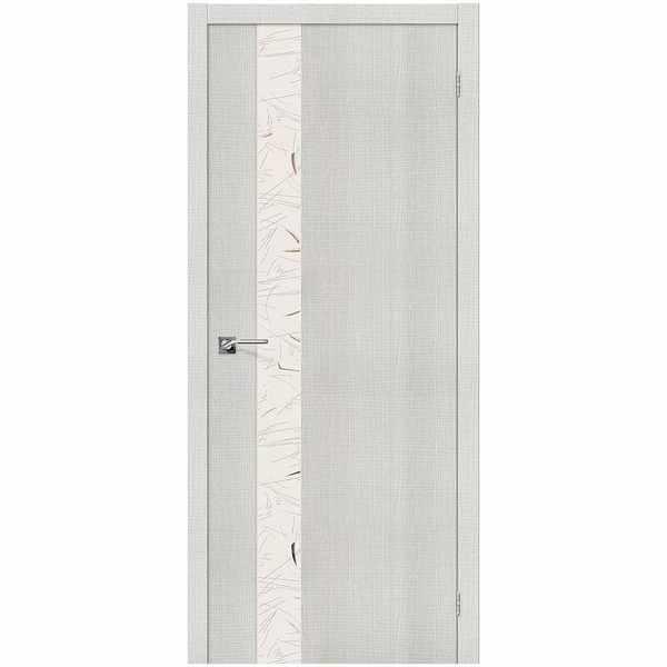 Дверь межкомнатная Порта-51 экошпон Бьянко кроскут, остекленное - зеркало с элементами художественного матирования, 80 см.