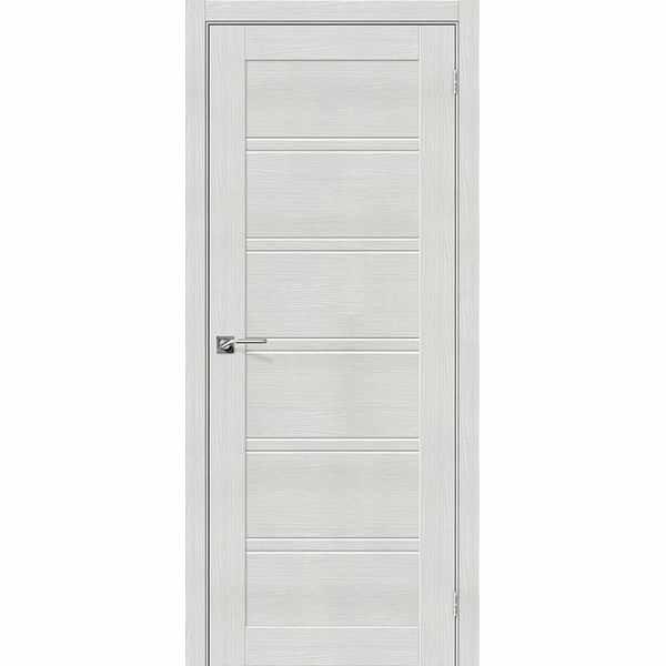 Дверь межкомнатная Порта-28 экошпон Бьянко вералинга, остекленное, 60 см.
