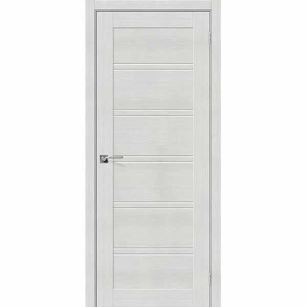 Дверь межкомнатная Порта-28 экошпон Бьянко вералинга, остекленное, 80 см.
